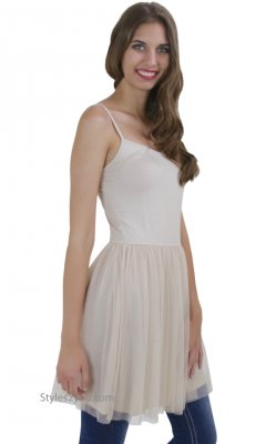Montreal Basic Cami Dress Extender With Mesh Skirt Taupe Mystree