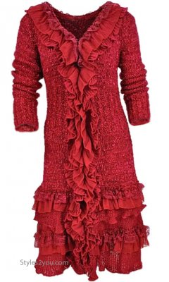 Ebony Long Vintage Sweater With Ruffles & Lace In Red