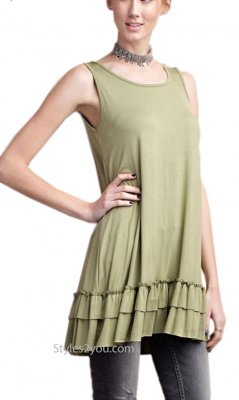 Cruise Ladies Ruffle Shirt Dress Extender In New Olive Easel Top