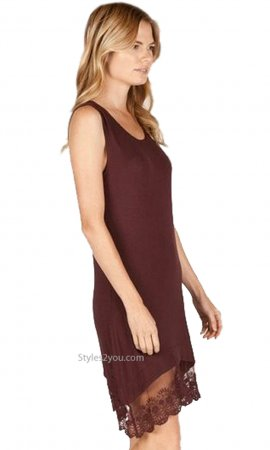 Redmond Layered Lace Hem Tank Dress Shirt Extender In Burgundy