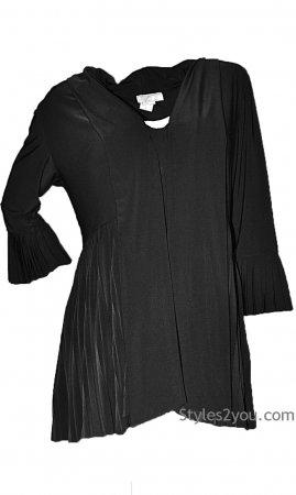 Madeline Ladies Pleated Jacket In Black Reina Pretty Woman Coats