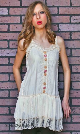 Kinslee Ladies Shabby Chic Top Tunic Dress In Caramel Pretty