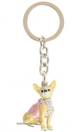 Chihuahua Dog Keychain With Swarovski Crystals