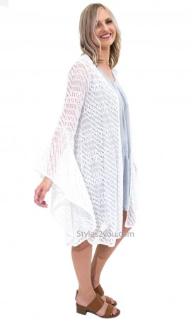 Edna Ladies Bell Sleeve Crochet Bohemian Hippy Cardigan Ivory