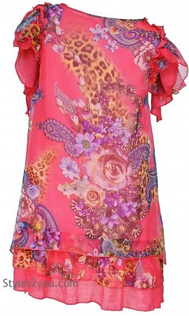 Emmalyn Pretty Angel Ladies Shirt Dress In Coral