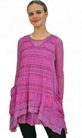 Augusta Ladies Two Piece Retro Tunic & Vest Mauve Pretty Angel