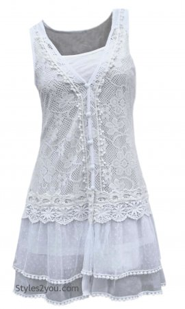 Lady Chantal Vintage Victorian Lace Top, Two Pieces In White