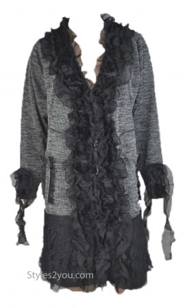Gayla Long Sleeve Button Up Cardigan With Ruffles In Black