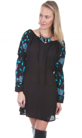 Alana PLUS SIZE Embroidered Shirt Dress Long Bell Sleeves Black