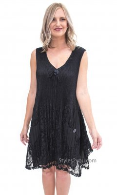 Boston Sleeveless Ladies Victorian Lace Dress In Black