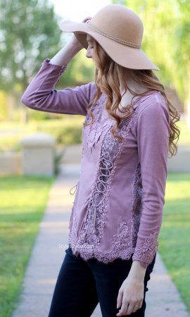 Cholera Vintage Victorian Lace Up Blouse In Purple