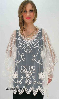 Reina Ladies Western Vintage Victorian All Lace Top In White