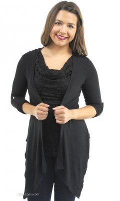 Monroe Two Piece Knit & Lace Top & Cardigan In Black