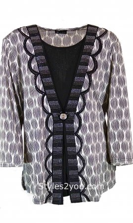 Rachelle Ladies PLUS SIZE Rhinestone Blouse Black COC Clothing