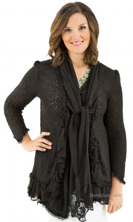Phoebe Ladies Layered Sweater Cardigan In Black Pretty Angel Top