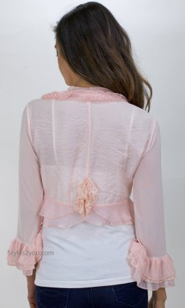 Pearl Angel Rose Ladies Vintage Victorian Jacket In Peach