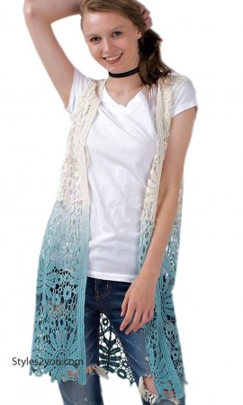Maurina Ladies Ombre Dip Dye All Crochet Cardigan Teal Easel Top