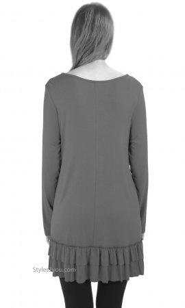 Celian Double Ruffle Tunic OR Layering Top In Silver Easel Top