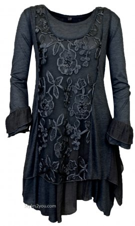 Mattie Ladies Long Sleeve 3 Piece Vest-Tunic or Dress In Black