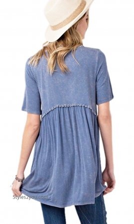 Houston Soft Rayon Short Sleeve Knit Tunic Mineral Wash Blue