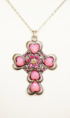 Aged Silver Rhinestone Cross Vintage Necklace In Pinks