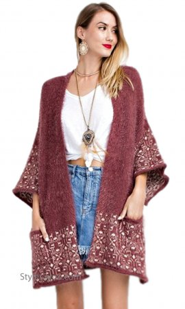 London Ladies Oversized Open Cardigan With Pockets In Marsala