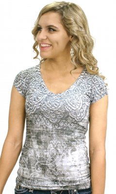Black And White Burn Out Rhinestone Top