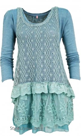 Ameline Two Piece Vintage Victorian Tunic & Vest In Aqua