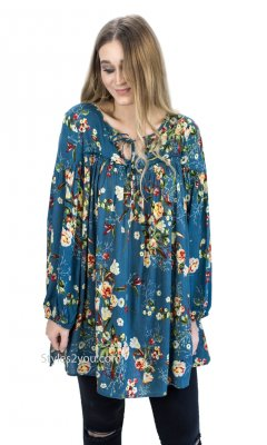 Wisconsin Ladies Rayon Floral Babydoll Shirt Dress In Faded Teal