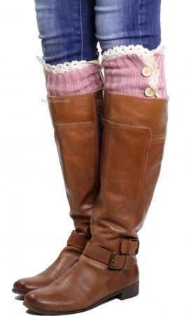 Three Button Ladies Knit And Crocheted Lace Boot Cuffs In Pink