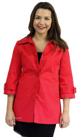 Abbie Ladies Button Up 3/4 Sleeve Dress Jacket In Red