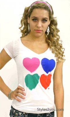 Burnout T Shirt With Hearts Tee