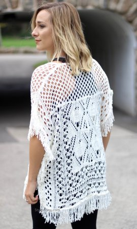 Jeanette Bohemian Knit Over Blouse With Fringe In Cream
