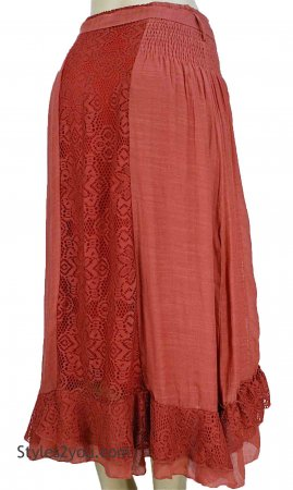 Jana Vintage Lace Bohemian Western Skirt In Rust Pretty Angel