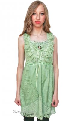 Camila Ladies Vintage Victorian Top In Green Pretty Angel Summer