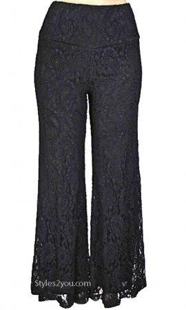 Carlin Vintage Victorian ALL Lace Lined Pant Black Verducci Pant