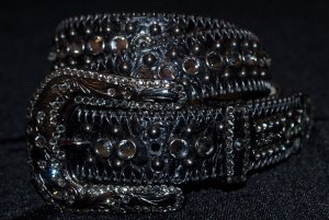 BB Simon Swarovski Crystal Leather Belt In Black