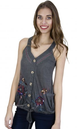 Royal Cardigan Top With Hand Beaded Designs In Gray