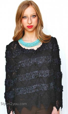 Vella Cardigan Bolero Top In Black Pretty Angel Vintage Clothes