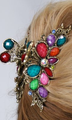 Ladies Vintage Rhinestone Flower Hair Clip In Multi Colors