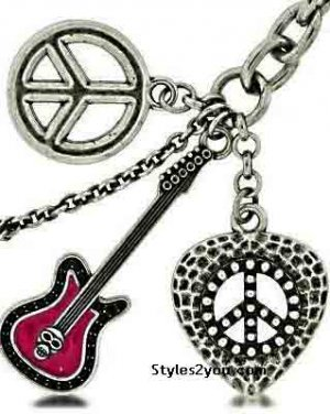 Heart, Guitar And Peace Sign Keychain With Swarovski Crystals