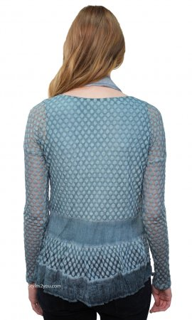 Blair Lace Blouse With Lining & Scarf In Aqua Blue