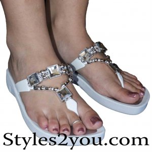 Grandco Sandals Crystal Thongs In White