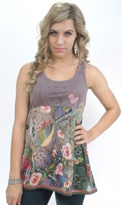 Love Birds Tunic With Chiffon Skirt & Peace Sign