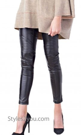 Merrill Moto Inspired Slim Fit Faux Leather Skinny Legging Black