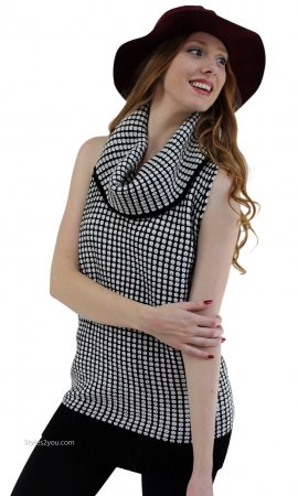 Tonika Sleeveless Wool Sweater Tunic In Black & White