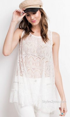 April Ruffle Bottom Sheer Lace Layering Shirt Tunic In Off White