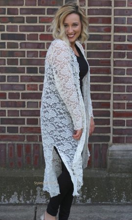 Connie Victorian Modern Vintage Lace Cardigan Duster In Ivory