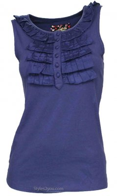 Navy Sleeveless Ruffle Top With Buttons Down The Front