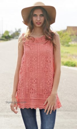 Malta Two Piece Sleeveless Crochet & Lace Shirt Dress In Salmon